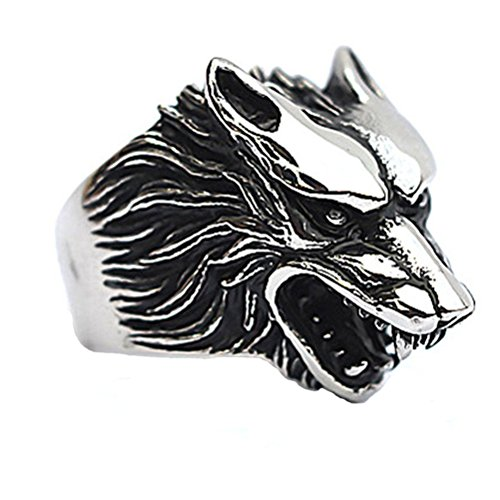 HIJONES Men's Jewelry 316l Stainless Steel Wolf Head Skull Ring, Size 13