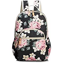 School Bookbags for Girls, Cute Floral Laptop Backpack College Bags Light Daypack by TOPERIN Floral Black