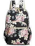 Leaper Cute Floral Laptop Backpack Girls College Bag Light Daypack Floral Black