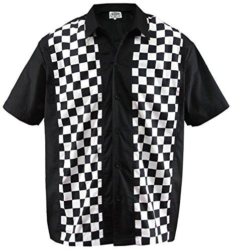 - Aloha-Beachwear Men's Bowling Shirt Rockabilly Panel Ska Check Plaid Chequered (XX-Large/Double-XL) Black White