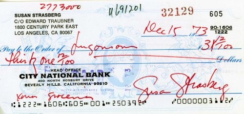 SUSAN STRASBERG Hand Signed Personal Check – UACC RD#289