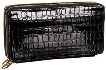 Tusk Croc-Embossed Double Zipper Clutch Wallet,Black,one size