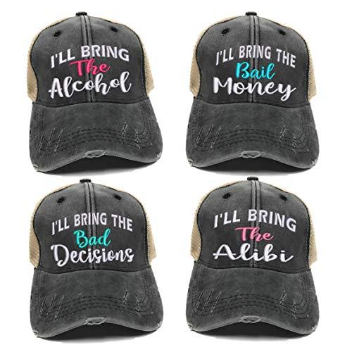 - I'll Bring The Alcohol Bad Decisions Hat Custom Men Women's Bail Money Alibi Ball Cap (Black/Tan Hat - Alcohol Script - Aqua)