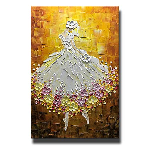Asdam Art Paintings,24x36 inch Hand Painted Golden Ballet Girl Paintings Dancer Vertical Wall Art for Living Room Elegant Canvas Artwork Framed - Girl Hand Art Painted