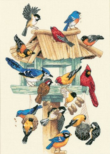 Dimensions 'Feasting Frenzy' Birds Counted Cross Stitch Kit, 18 Count Ivory Aida, 10'' x 14'' Counted Cross Stitch Kit Birds
