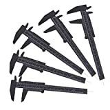 T&B 6Inch 150mm Mini Caliper Double Scale Plastic Vernier Caliper for Jewelry Sliding Gauge Ruler Measuring Tool Black 5PCS