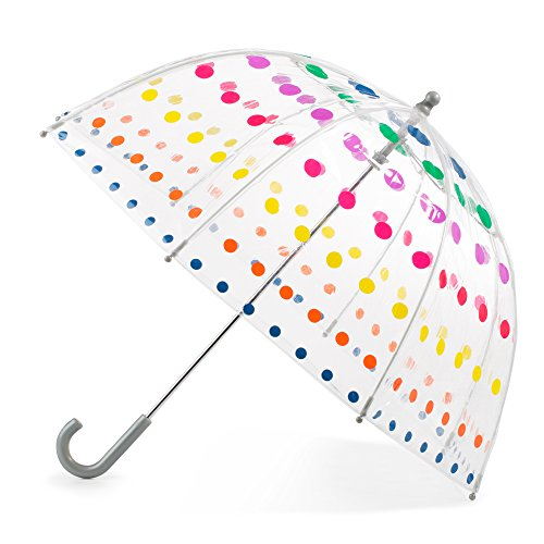 Totes Kid's Clear Bubble Umbrella with Easy Grip Handle, Dots -