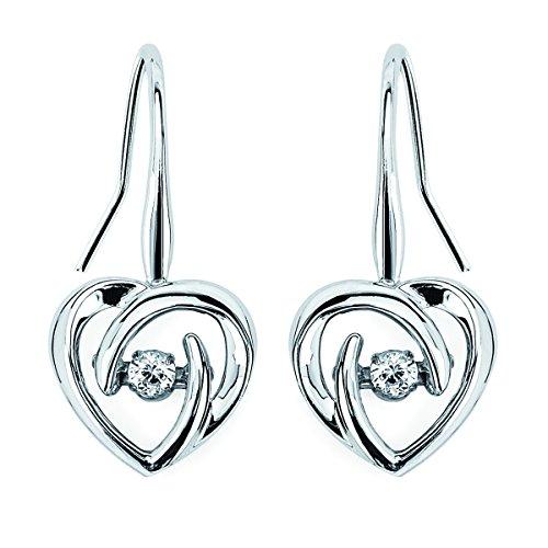925 Sterling Silver Dancing Diamond Dainty Heart Earrings (1/10 cttw, H-I Color, I1-I2 - Heart Post Diamond