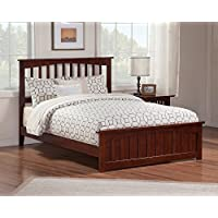 Mission Bed with Matching Foot Board, Queen, Antique Walnut