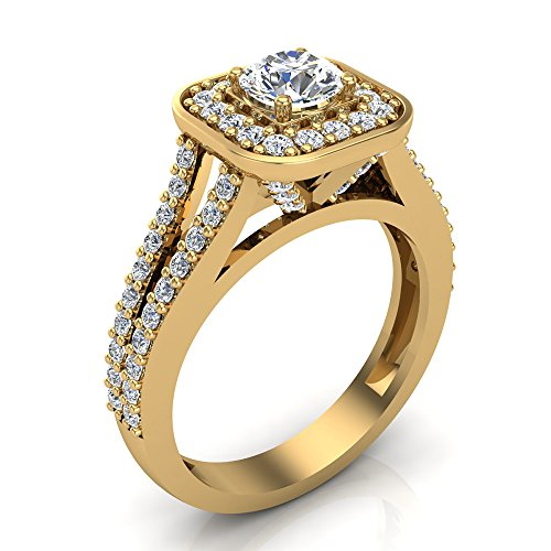 1.25 ct tw Cushion Halo Split Shank Diamond Engagement Ring Set 14K Yellow Gold (Ring Size 8.5) -