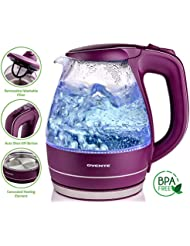 Ovente 1.5L BPA Free Glass Electric Kettle, Fast Heating With Auto Shut