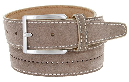 Casual Mens Belt Italian Suede Leather Dress Made in (Mens Beige Italian Suede)