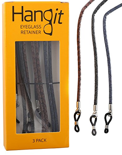 Elegant Eyeglass Strap-Chain- Retainer with Universal Connector (3 Pack) - High-Quality PU Leather Strap to Keep Your Glasses In Place - Never Lose or Misplace Your Eyeglasses Again by HANGIT