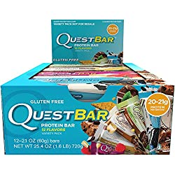 Quest Nutrition Protein Bar, Best Seller Variety Pack, 12 Flavors, 20-21g Protein, 4-7g Net Carbs, 170-200 Cals, High Protein Bars, Low Carb Bars, Gluten Free, Soy Free, 2.1 oz Bar, 12 Count