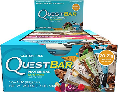 Amazon Best Seller - Quest Nutrition Protein Bar, Best Seller Variety Pack, 12 Flavors, High Protein Bars, Low Carb Bars, Gluten Free, Soy Free, 2.1 oz Bar, 12 Count, Packaging May Vary