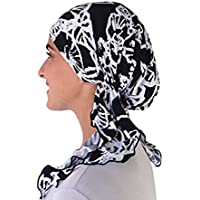 Soft Lycra Slip On Pre Tied Fitted Womens Bandana Jewish Muslim Hijab Head Wrap Cancer Chemo Hat Lightweight Turban Scarf