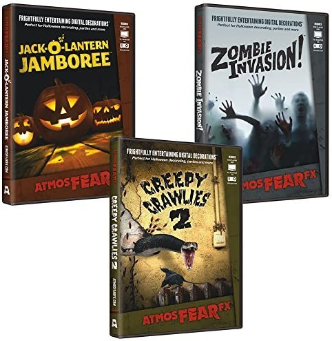 AtmosFearFX Zombie Invasion, Jack O Lantern Jamboree & Creepy Crawlies DVD Combo Pack. Virtual Halloween Window Projection Decoration. by AtmosFearFX: Amazon.es: Juguetes y juegos