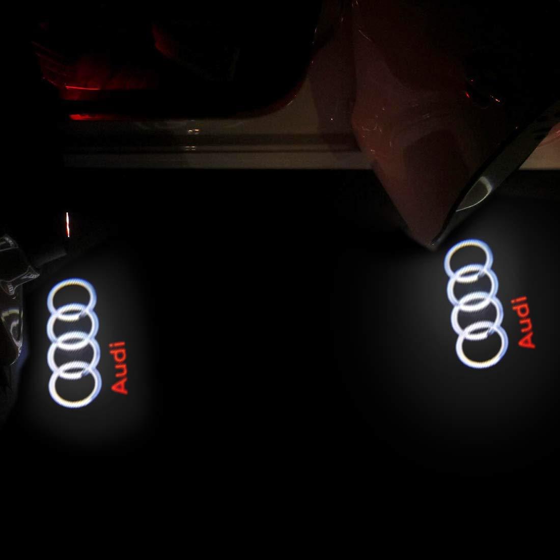 Oheealt Audi Car Accessories Door Logo Led Light Car Door Ghost Shadow Projector Welcome Lamp Symbol Emblem Step Courtesy Lights Ground Kit for for Audi A1 A3 A4 A5 A6 A7 A8 Q3 Q7 R8 TT 2 Pack
