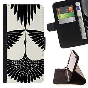 Momo Phone Case / Flip Funda de Cuero Case Cover - Cigüeña Arte Dibujo tinta blanca - MOTOROLA MOTO X PLAY XT1562