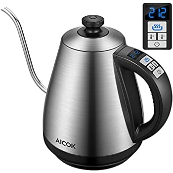 Aicok Electric Kettle [Upgrade] Electric Gooseneck Kettle with Temperature Control 104°F-212°F, Pour Over Coffee Kettle 1.0L Full Stainless Steel Interior & LED Display, Fast Tea Kettle 1000W