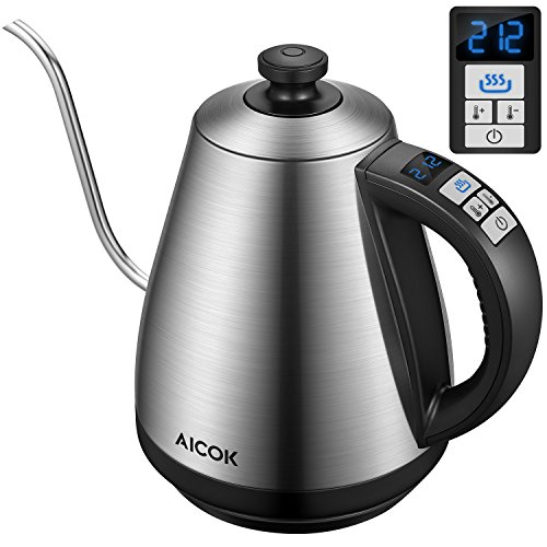 Aicok Electric Kettle [Upgrade] Electric Gooseneck Kettle with Temperature Control 104F-212F, Pour Over Coffee Kettle 1.0L Full Stainless Steel Interior & LED Display, Fast Tea Kettle 1000W