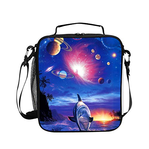 Kids' Insulated Lunch Bag with Zipper, Cute School Lunch Box Backpack for Girls, Dolphins Chasing -