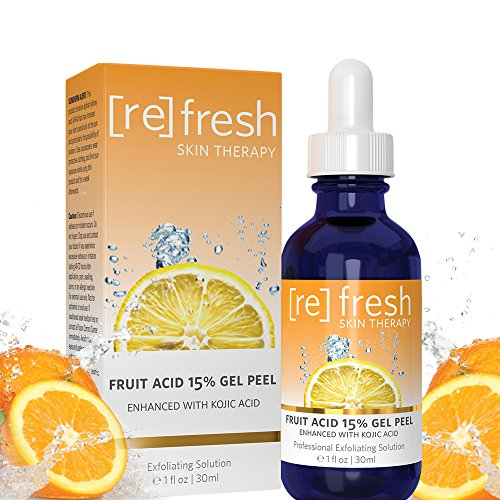 (Fruit Acid Chemical Peel with Kojic Acid 15% - Lactic Acid, Glycolic Acid Natural Facial Gel Peel - 1oz / 30ml)