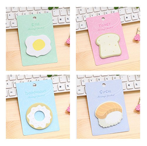 Notes Toast (Style 4 Pcs Breakfast Sticky Notes Egg Toast Sushi N times paste,Cute Message Note Notepad Week Planner)