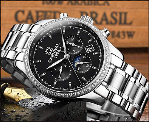 CARNIVAL herrklockor topp märke automatisk mekanisk klocka män rostfritt stål armbandsur Colorc
