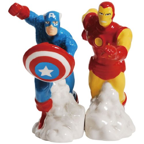 Ceramic Teddy Collectible (Westland Giftware Magnetic Ceramic Salt and Pepper Shaker Set, 4-Inch, Marvel Comics Captain America and Iron Man, Set of 2)