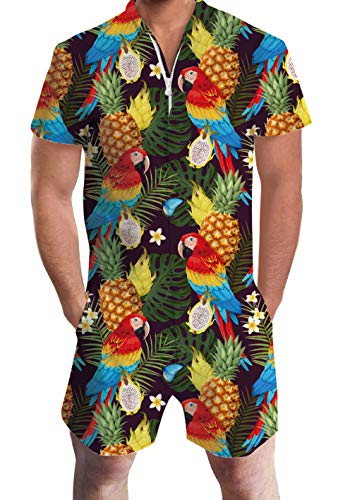 Uideazone Male Romper Cool Haiwaiian Pineapple Parrot Printed Short Sleeve Jumpsuit Funny Short Sleeve Playsuit Jumpsuit Clothing