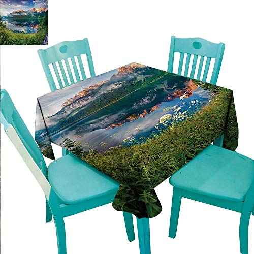 WilliamsDecor Mountain Easy Care Tablecloth Sunny Summer Morning on Lake Austrian Alps Crystal Mirroring Water Fairy Season for Kitchen Dinning Tabletop Decoration 60