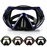 SKITCH Adjustable Tempered Glasses Anti-Fog Lens Scuba Diving Goggles Swimming Glasses Googles Snorkeling Mask with Silicone Skirt Silicone Strap for Adults