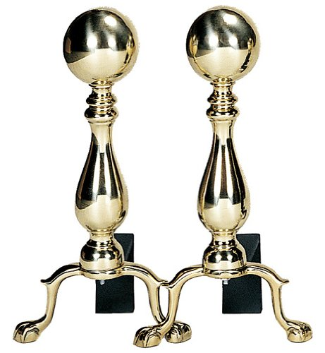 Uniflame, A-9122, Solid Brass Medium Ball Andirons