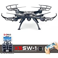 Cszlove Wifi FPV UAV 2.4Ghz 4CH 6-Axis Gyro RC Drone Headless Quadcopter with 2MP HD Camera LIVE Video RTF - Black