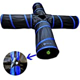 New Cat tunnel Design - Collapsible 4-way Cat Tunnel Toy with Crinkle (Large - Dark Blue)