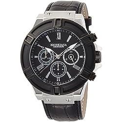 BROOKIANA Thunderbolt Chronograph Black ~ Black Leather BA2308-BKBK Men's Watches