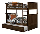 Nantucket Full over Full Bunk Bed   Raised Panel Trundle   Antique Walnut