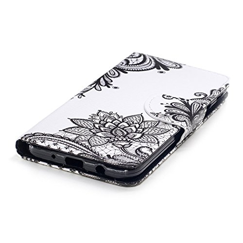 EUWLY Leather Wallet Case for Samsung Galaxy J7 2017(European Version),Ultra Thin Colorful Butterfly Flower Tree Animal Embossed Pu Leather Case Cover with Hand Strap for Samsung Galaxy J7 2017 + 1 x Black Flower