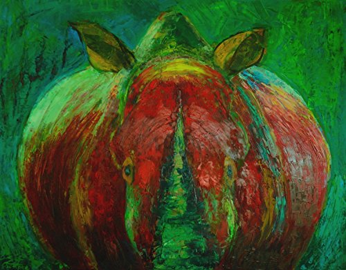 Green and Red Paintings Rhino ART PRINT ON CANVAS 28x36 Animal portrait Figurative Figure Wildlife for Wall Salon Bar Living Room Bedroom decor Expressionist Rhinoceros (Outdoors Wild Knife American Native)