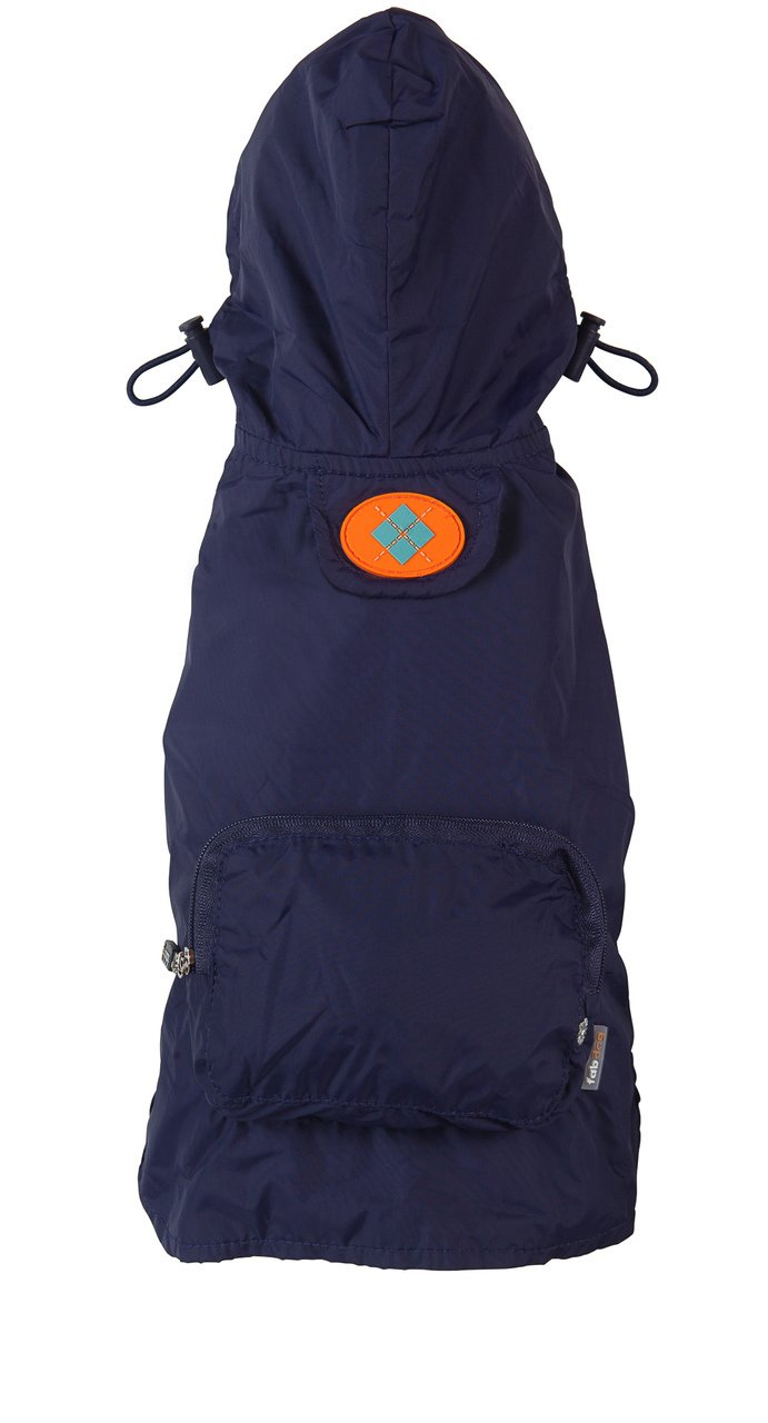 fabdog Packable Dog Raincoat Navy (Medium)