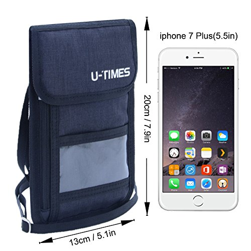 UTIMES Travel Passport Neck Bag RFID Blocking Cell Phone Wallet Pouch With Additional Carabiner-Ultra Slim & Light Weight(Black) by UTIMES (Image #2)