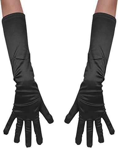 Womens Long Satin Look Evening Gloves Ladies Fancy Dress Prom Party Accessory