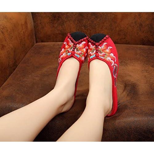 &QQ Chaussures brodées, semelle tendineuse, style ethnique, flip flop féminin, mode, confortable, sandales