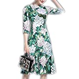 Venetia Morton Fashion Runway Designer Summer Dress Women's 3/4 Sleeve Casual Green Floral Printed Sequined Beading Mermaid Dress
