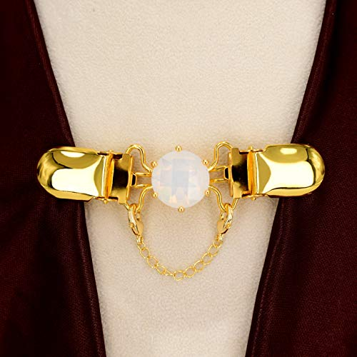 Bezelry Gold Crafter Cardigan Clip with White Opal Glass. for Cape,Cloak,Sweater,Shawl,Jacket,Vest,Blouse or Back of Dresses. 85mm (3.4