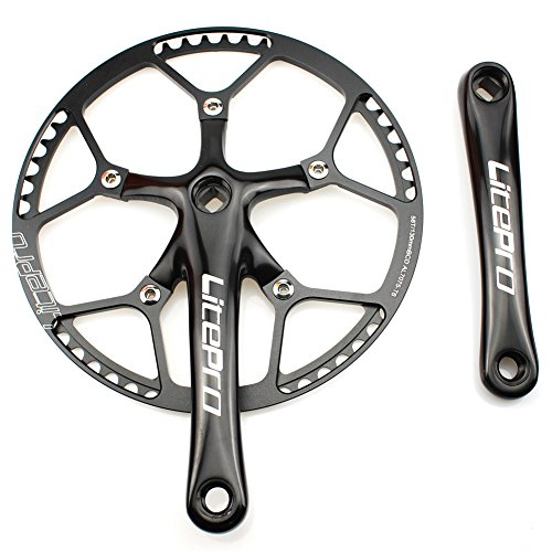 Single Speed Crankset Set 58T 170mm Crankarms 130 BCD Litepro Folding Bike Crankset with Protective Cover for Single Speed Bike, Track Road Bicycle, Fixed Gear, Fixie, Dahon (Square Taper) (Black)