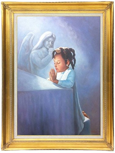 Religious Original Angelic, Prayer, Faith Oil Painting of a Little Black Girl Praying (24'' X 36'') Framed (4 1/2'' Classic Gold, 44 1/4'' X 32 1/4'') Other Frame Options Available by ImpactInt