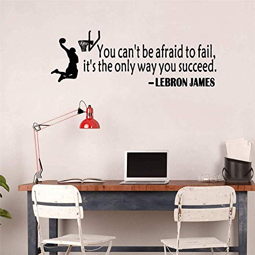 Ertryrtra Lebron James Quote Basketball Wall Sticker Art Sport Wallpaper Home Decor You Can't Be Afraid to Fail It's The Only Way You Succeed Basketball Sports Motivational Saying Wall Decal