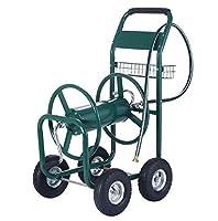 New 300FT Water Hose Reel Cart Garden Outdoor Yard Lawn Heavy Duty Planting Storage Portable Wheels W/Basket